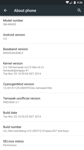 Android 5.0 на Galaxy Note 3