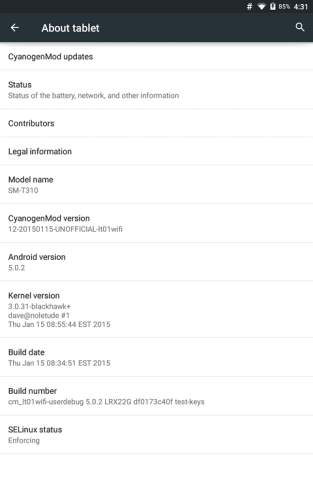 Android 5.0 Galaxy Tab 3 8.0