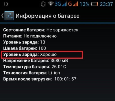 информация о батарее андроид