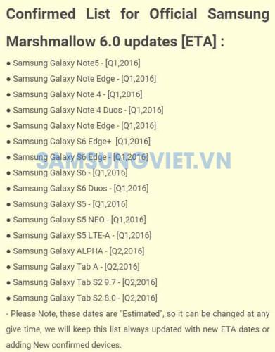 Список обновляемых Samsung Galaxy