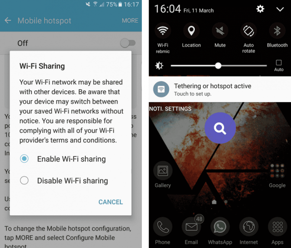 Enable Wi-Fi sharing в