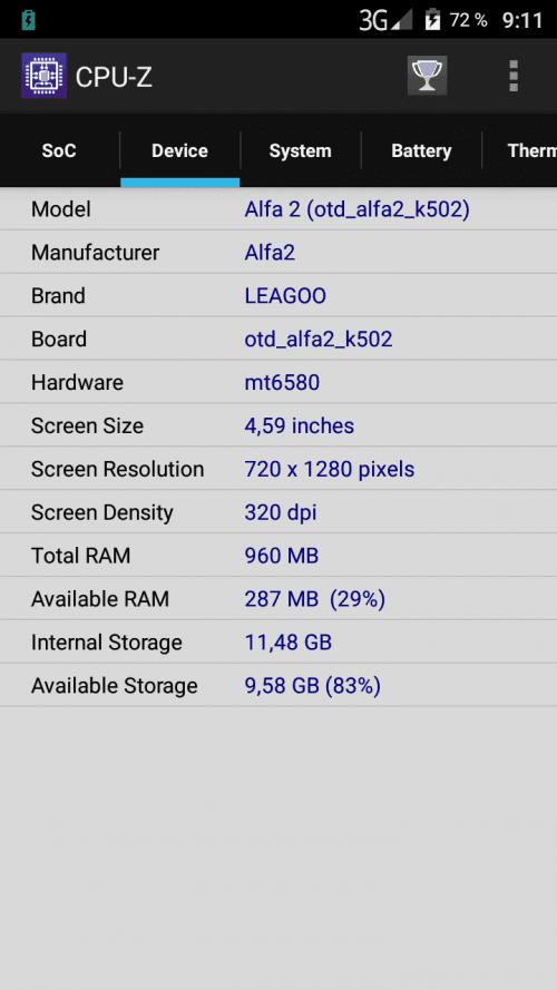 Технические характеристики LEAGOO Alfa 2