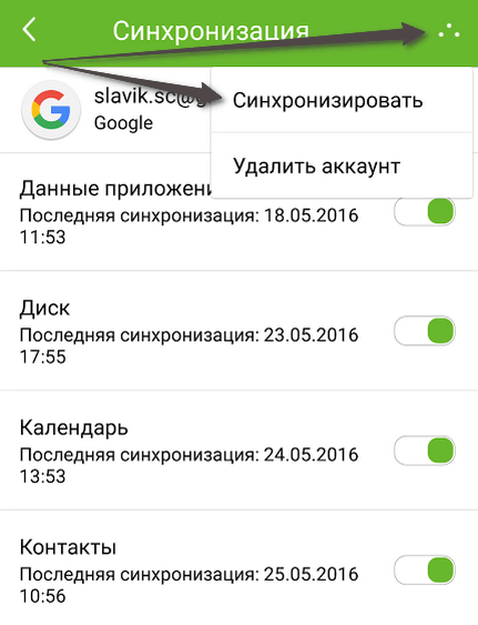 Синхронизация контактов Android