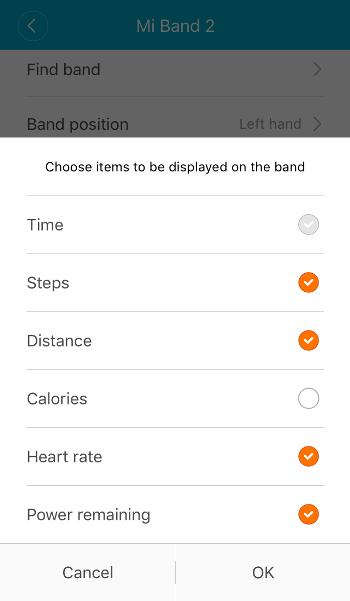 Настройка экрана Mi Band 2