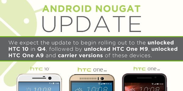 HTC 10, One M9 и A9 получат Android 7.0 Nougat