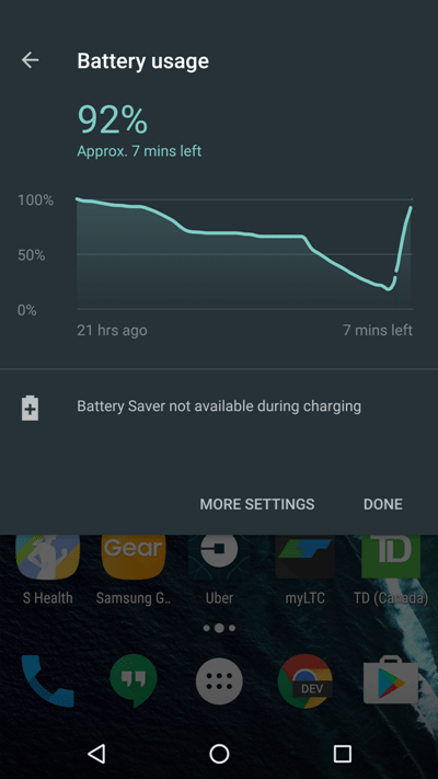 Android 7.0 Nougat статистика батареи