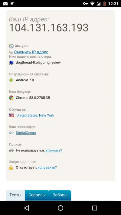 Проверка IP адреса на Android