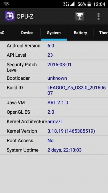 Версия Андроид в CPU-Z