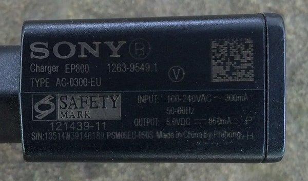 Зарядка Sony 850mA