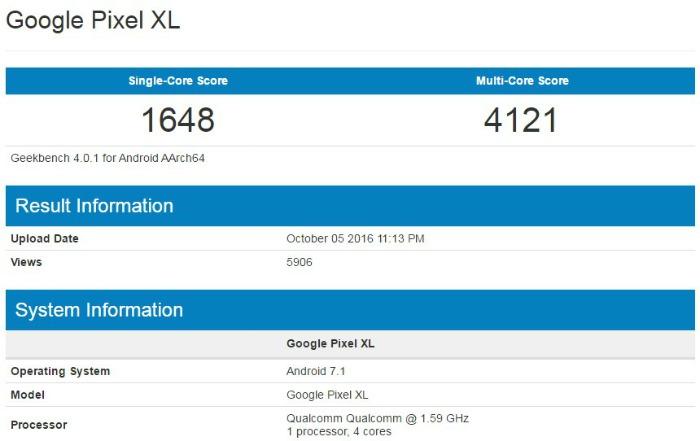 Google Pixel XL в Geekbench
