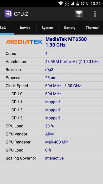 Процессор Android в CPU-Z
