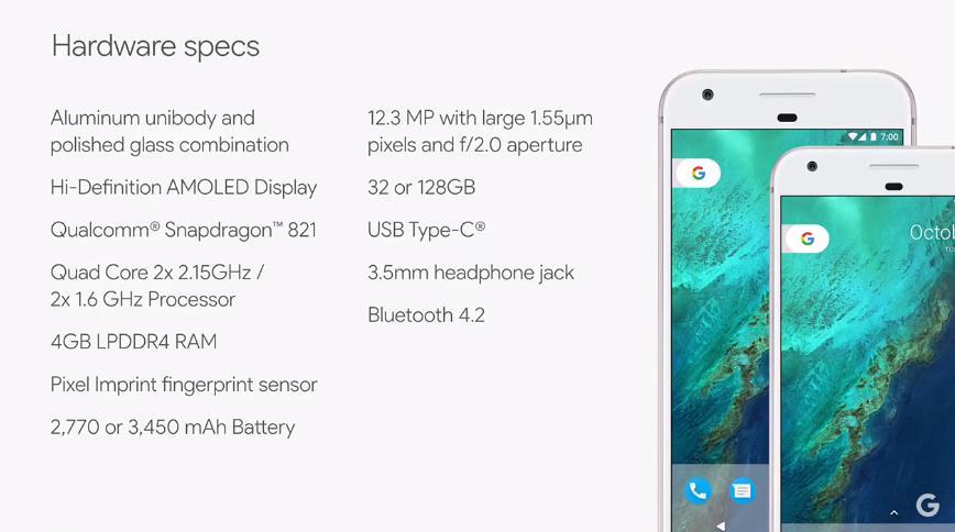 Google Pixel XL характеристики