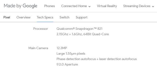 Характеристики Google Pixel