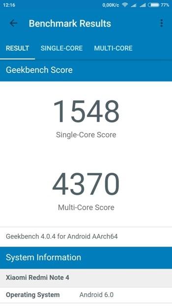 Redmi Note 4 в Geekbench 4