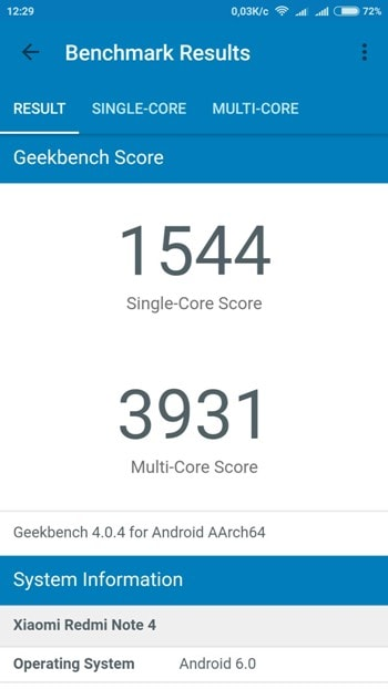 Redmi Note 4 в Geekbench 4