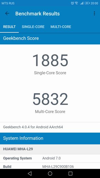 Тестирование Huawei Mate 9 в Geekbench 4