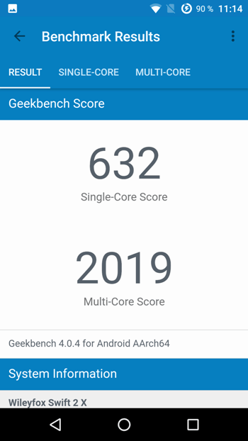 Wileyfox Swift 2 X в Geekbench 4