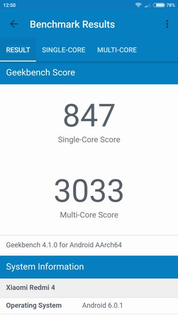 Xiaomi Redmi 4 Pro в Geekbench 4