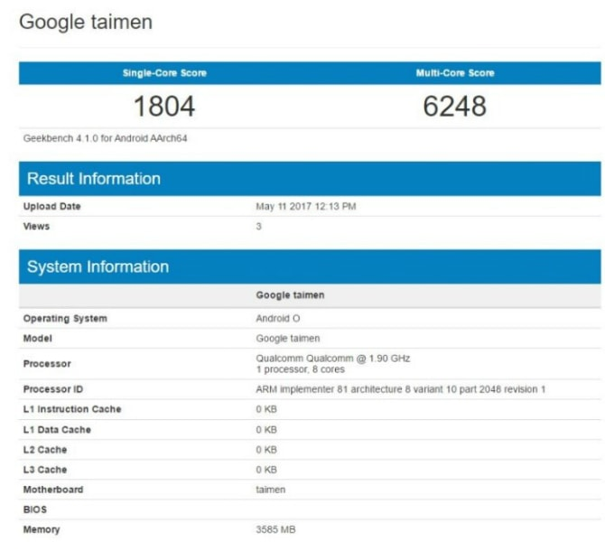 Google Taimen соSnapdragon 835 и андроид Oзамечен вGeekbench