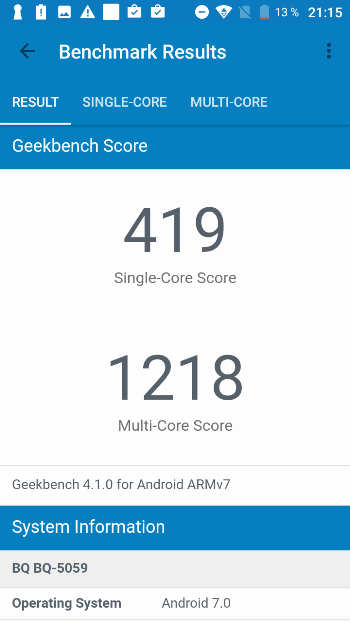 BQ Strike Power в Geekbench 4