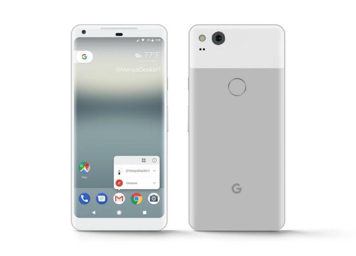Google PixelXL 2 показан нарендерах вновых расцветках