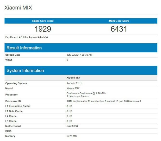 Xiaomi MiMix счипсет Snapdragon 835 и6 ГБоперативной памяти