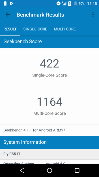 Fly Cirrus 11 в Geekbench 4