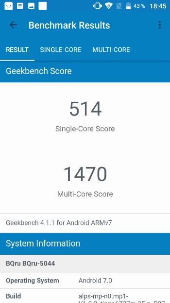 BQ Strike LTE в Geekbench