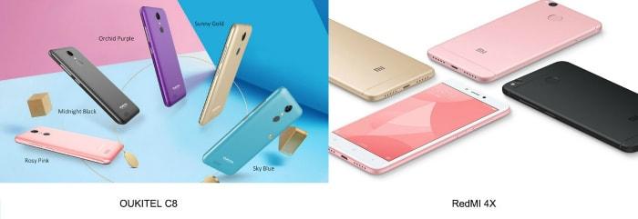 Oukitel C8 и Xiaomi Redmi 4X