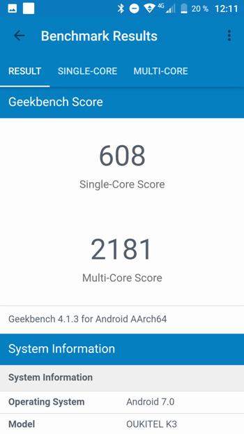 Oukitel K3 в Geekbench
