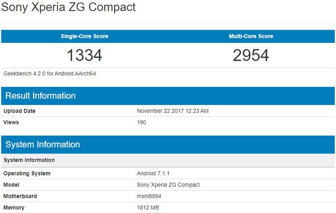Смартфон Сони XperiaZG Compact засветился вGeekbench