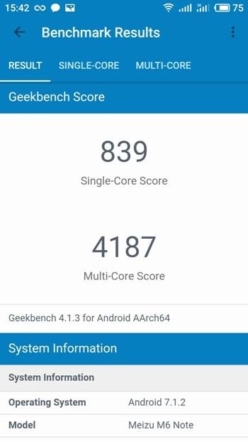 Meizu M6 Note в Geekbench