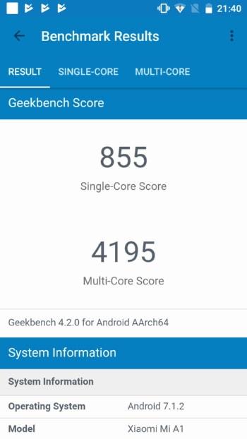 Xiaomi Mi A1 в Geekbench