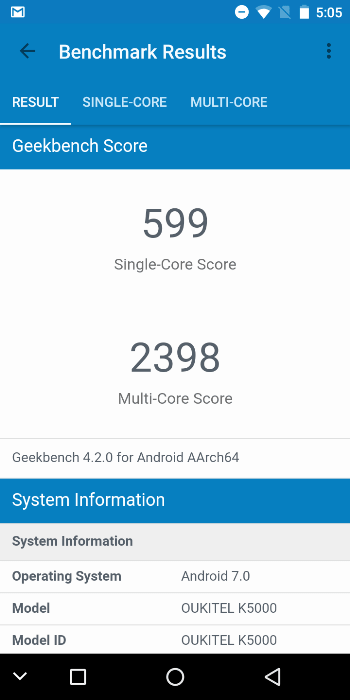Oukitel K5000 в Geekbench