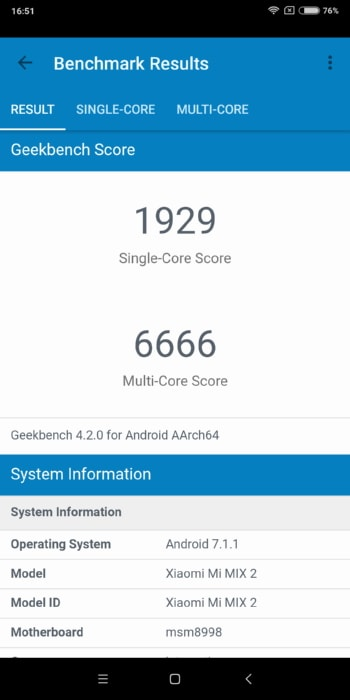 Xiaomi Mi Mix 2 в Geekbench