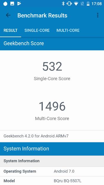 BQ-5507L Iron Max в Geekbench
