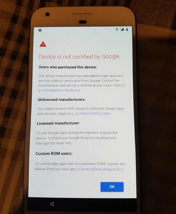 Устройство не сертифицировано Google