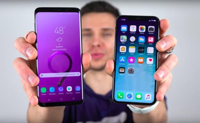 iPhone X и Samsung Galaxy S9