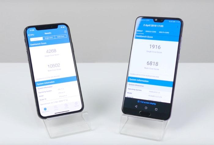 Huawei P20 Pro, iPhone X