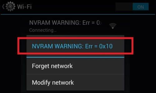 NVRAM WARNING: Err = 0x10