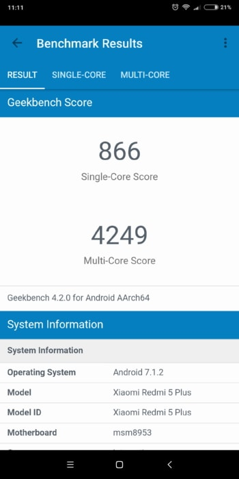 Xiaomi Redmi 5 Plus в Geekbench
