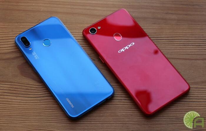 OPPO F7 и Huawei P20 Lite
