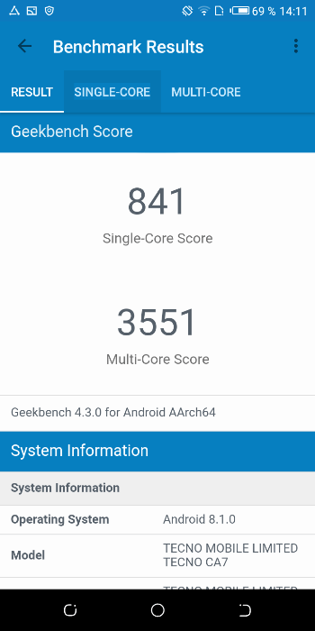 Tecno Camon X в Geekbench