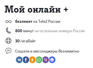 "Тариф Теле2 ""Мой онлайн+"""
