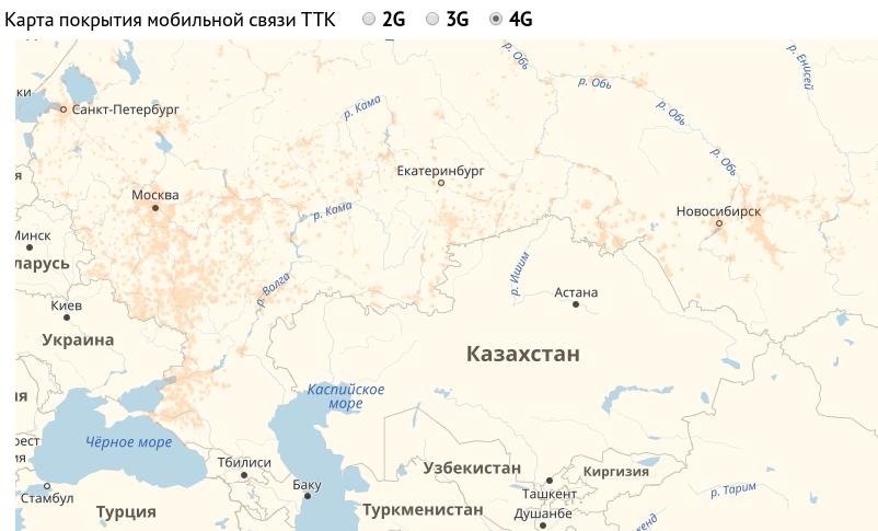 Карта покрытия TTK Mobile