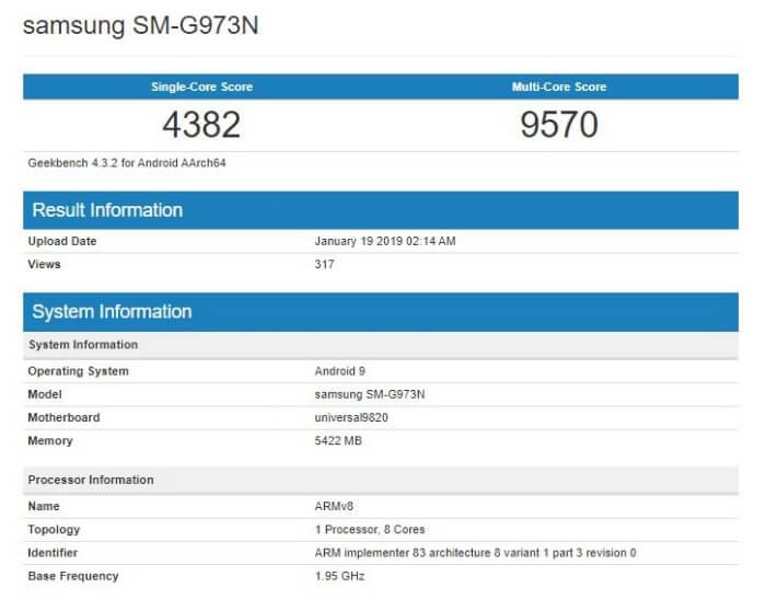 Результат Samsung Galaxy S10 в Geekbench