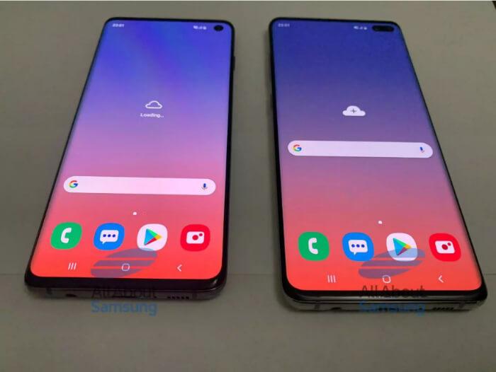 Samsung Galaxy S10 и S10 Plus спереди