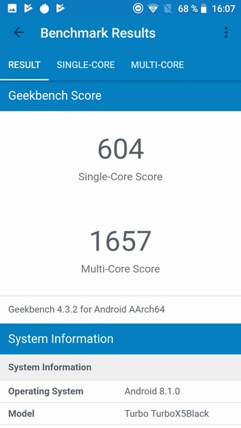 Turbo X5 Black 4G в Geekbench