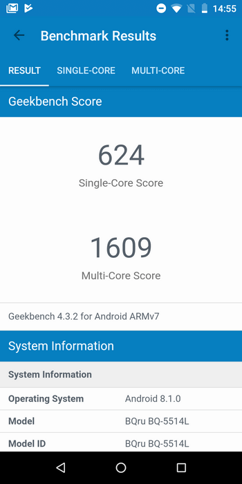 BQ-5514G Strike Power 4G в Geekbench