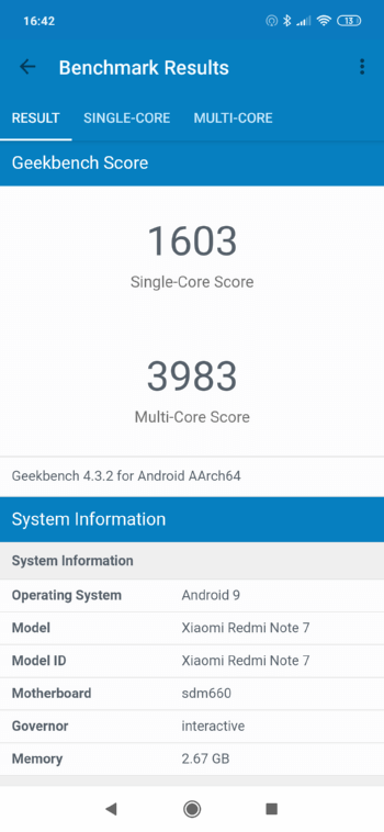 Redmi Note 7 в Geekbench
